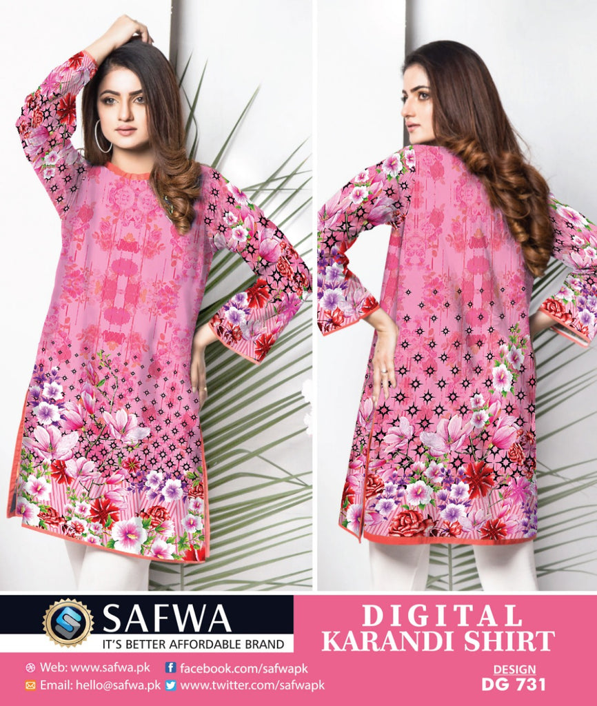DG731- SAFWA DIGITAL KARANDI PRINT KURTI COLLECTION -SHIRT KURTI KAMEEZ