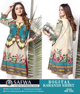 DG734- SAFWA DIGITAL KARANDI PRINT KURTI COLLECTION -SHIRT KURTI KAMEEZ