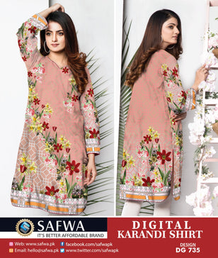 DG735- SAFWA DIGITAL KARANDI PRINT KURTI COLLECTION -SHIRT KURTI KAMEEZ