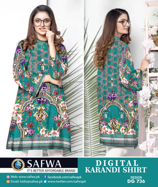 DG736- SAFWA DIGITAL KARANDI PRINT KURTI COLLECTION -SHIRT KURTI KAMEEZ
