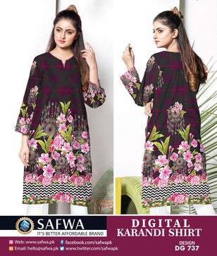 DG737- SAFWA DIGITAL KARANDI PRINT KURTI COLLECTION -SHIRT KURTI KAMEEZ