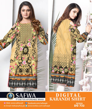 DG738- SAFWA DIGITAL KARANDI PRINT KURTI COLLECTION -SHIRT KURTI KAMEEZ