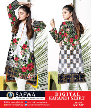 DG739- SAFWA DIGITAL KARANDI PRINT KURTI COLLECTION -SHIRT KURTI KAMEEZ