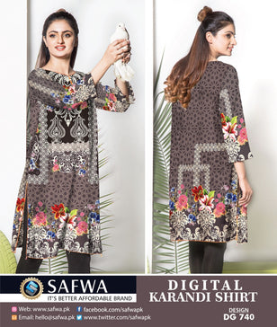 DG740- SAFWA DIGITAL KARANDI PRINT KURTI COLLECTION -SHIRT KURTI KAMEEZ
