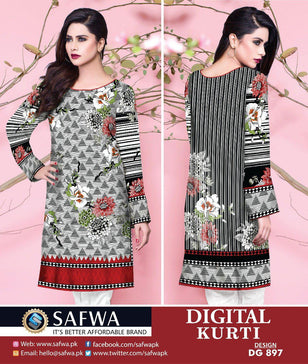 DG897 - SAFWA DIGITAL COTTON PRINT KURTI COLLECTION -SHIRT KURTI KAMEEZ - Shirt-Kurti - Safwa Pakistan Fashion