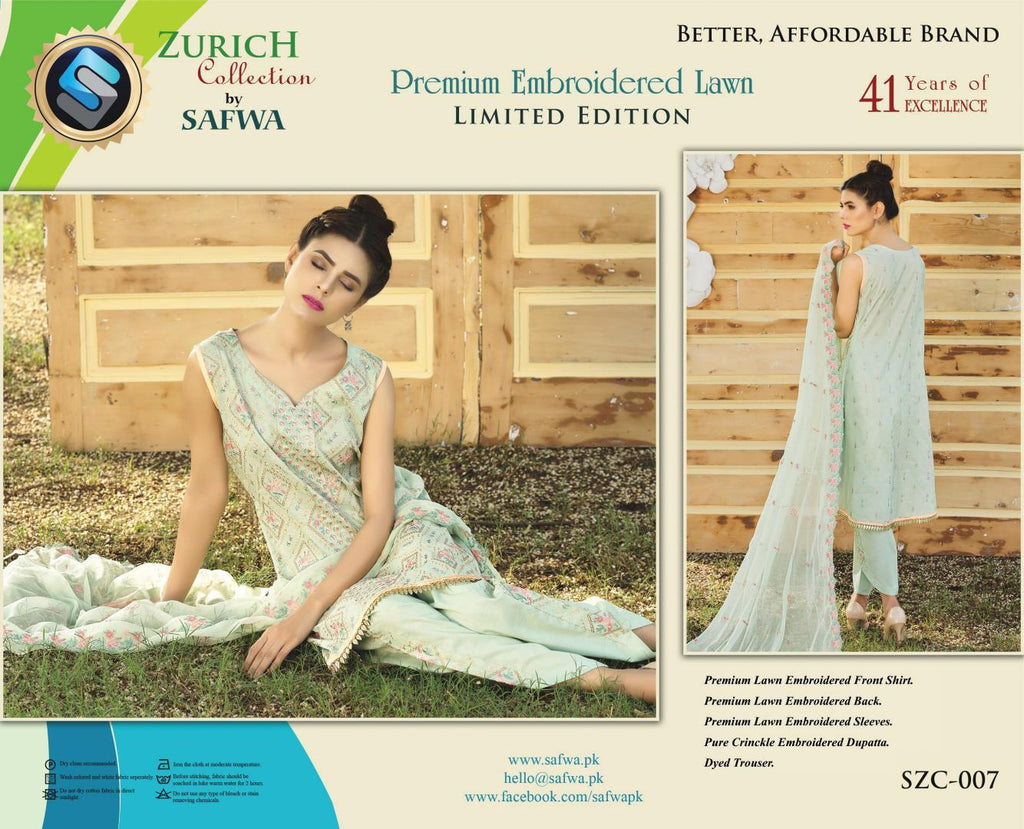 SZC-007 - SAFWA BRAND - ZURICH COLLECTION - EMBROIDERED - PREMIUM LAWN DRESS, 5 Piece Suit, SAFWA, SAFWA Brand - Pakistani Dresses | Kurtis | Shalwar Kameez | Online Shopping | Lawn Dress