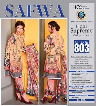D-803 - SAFWA DIGITAL - SUPREME COLLECTION - EMBROIDERED - 3 PIECE SUIT - LAWN