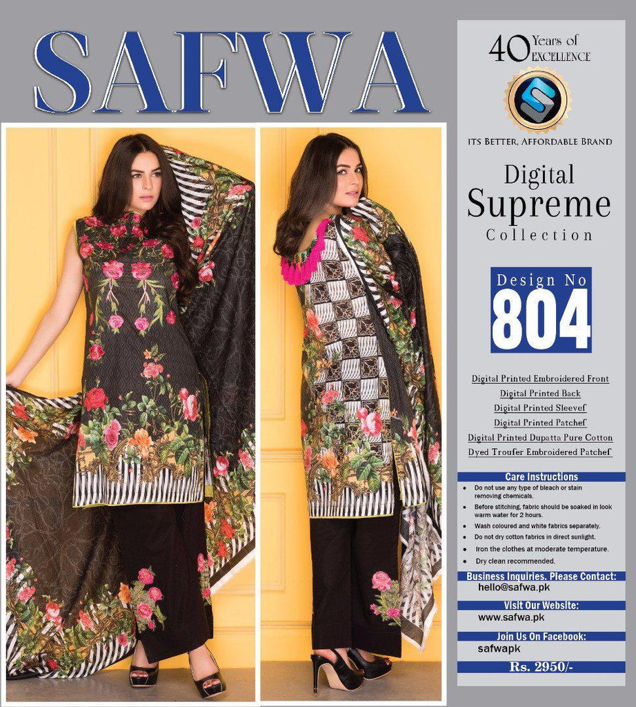 D-804 - SAFWA DIGITAL - SUPREME COLLECTION - EMBROIDERED - 3 PIECE SUIT - LAWN, Three Piece Suit, SAFWA, SAFWA Brand - Pakistani Dresses | Kurtis | Shalwar Kameez | Online Shopping | Lawn Dress