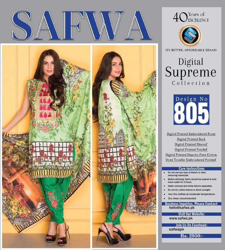 D-805 - SAFWA DIGITAL - SUPREME COLLECTION - EMBROIDERED - 3 PIECE SUIT - LAWN, Three Piece Suit, SAFWA, SAFWA Brand - Pakistani Dresses | Kurtis | Shalwar Kameez | Online Shopping | Lawn Dress