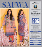 D-806 - SAFWA DIGITAL - SUPREME COLLECTION - EMBROIDERED - 3 PIECE SUIT - LAWN