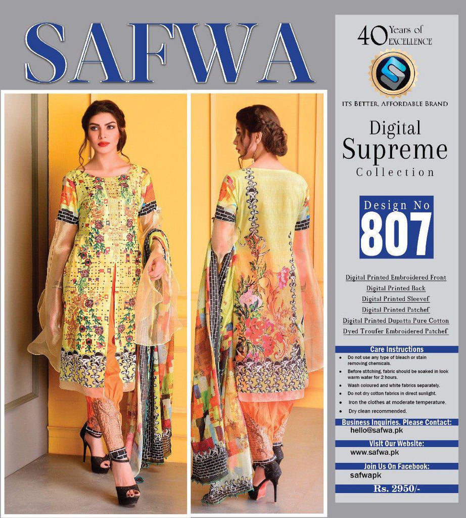 D-807 - SAFWA DIGITAL - SUPREME COLLECTION - EMBROIDERED - 3 PIECE SUIT - LAWN, Three Piece Suit, SAFWA, SAFWA Brand - Pakistani Dresses | Kurtis | Shalwar Kameez | Online Shopping | Lawn Dress