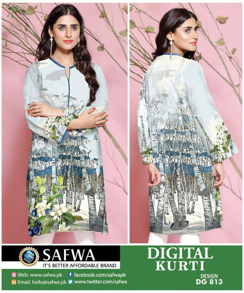 SAFWA DRESS DESIGN, DRESSES, PAKISTANI DRESSES, DG813 - SAFWA DIGITAL COTTON PRINT KURTI COLLECTION -SHIRT KURTI KAMEEZ-Shirt-Kurti-SAFWA -SAFWA Brand Pakistan online shopping for Designer Dresses