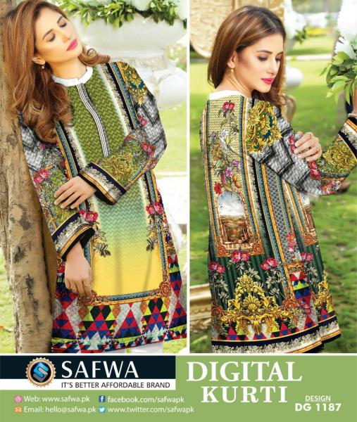 9c1c165464 DG1187- SAFWA DIGITAL COTTON PRINT KURTI COLLECTION -SHIRT KURTI KAMEEZ -  Shirt-Kurti