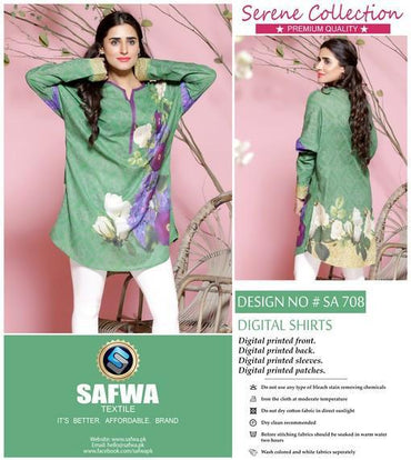SA-708 - SAFWA LAWN - SERENE COLLECTION - DIGITAL  - SHIRTS