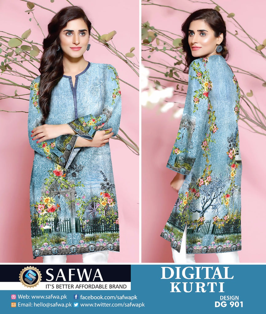 DG901 - SAFWA DIGITAL COTTON PRINT KURTI COLLECTION -SHIRT KURTI KAMEEZ