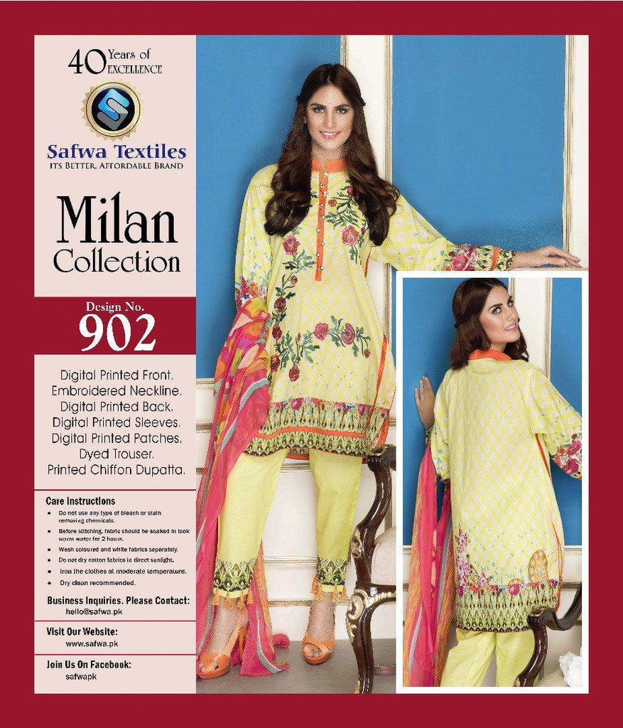 D-902 - SAFWA DIGITAL - MILAN COLLECTION - EMBROIDERED - 3 PIECE SUIT - LAWN, Three Piece Suit, SAFWA, SAFWA Brand - Pakistani Dresses | Kurtis | Shalwar Kameez | Online Shopping | Lawn Dress