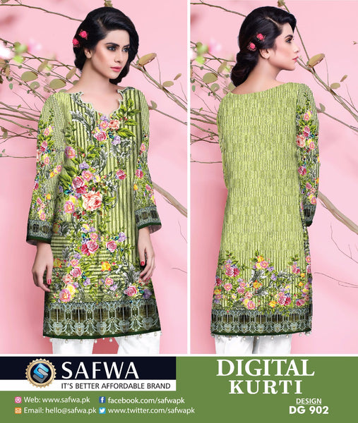 SAFWA DRESS DESIGN, DRESSES, PAKISTANI DRESSES, DG902 - SAFWA DIGITAL COTTON PRINT KURTI COLLECTION -SHIRT KURTI KAMEEZ-Shirt-Kurti-SAFWA -SAFWA Brand Pakistan online shopping for Designer Dresses