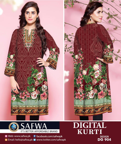 SAFWA DRESS DESIGN, DRESSES, PAKISTANI DRESSES, DG904 - SAFWA DIGITAL COTTON PRINT KURTI COLLECTION -SHIRT KURTI KAMEEZ-Shirt-Kurti-SAFWA -SAFWA Brand Pakistan online shopping for Designer Dresses