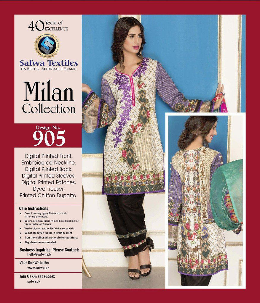 D-905 - SAFWA DIGITAL - MILAN COLLECTION - EMBROIDERED - 3 PIECE SUIT - LAWN, Three Piece Suit, SAFWA, SAFWA Brand - Pakistani Dresses | Kurtis | Shalwar Kameez | Online Shopping | Lawn Dress