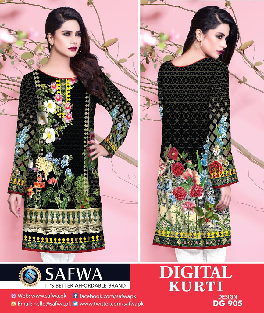 DG905 - SAFWA DIGITAL COTTON PRINT KURTI COLLECTION -SHIRT KURTI KAMEEZ
