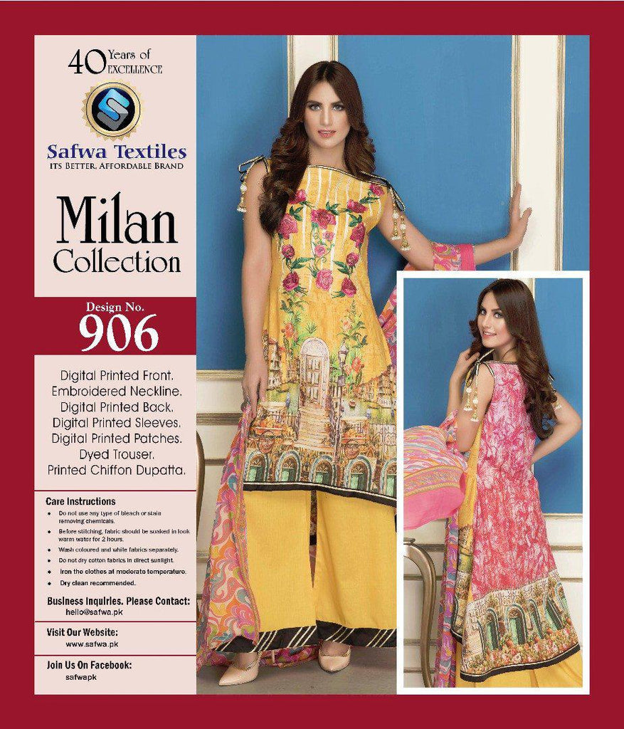 D-906 - SAFWA DIGITAL - MILAN COLLECTION - EMBROIDERED - 3 PIECE SUIT - LAWN, Three Piece Suit, SAFWA, SAFWA Brand - Pakistani Dresses | Kurtis | Shalwar Kameez | Online Shopping | Lawn Dress