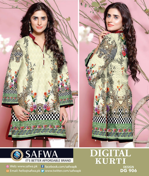 SAFWA DRESS DESIGN, DRESSES, PAKISTANI DRESSES, DG906 - SAFWA DIGITAL COTTON PRINT KURTI COLLECTION -SHIRT KURTI KAMEEZ-Shirt-Kurti-SAFWA -SAFWA Brand Pakistan online shopping for Designer Dresses