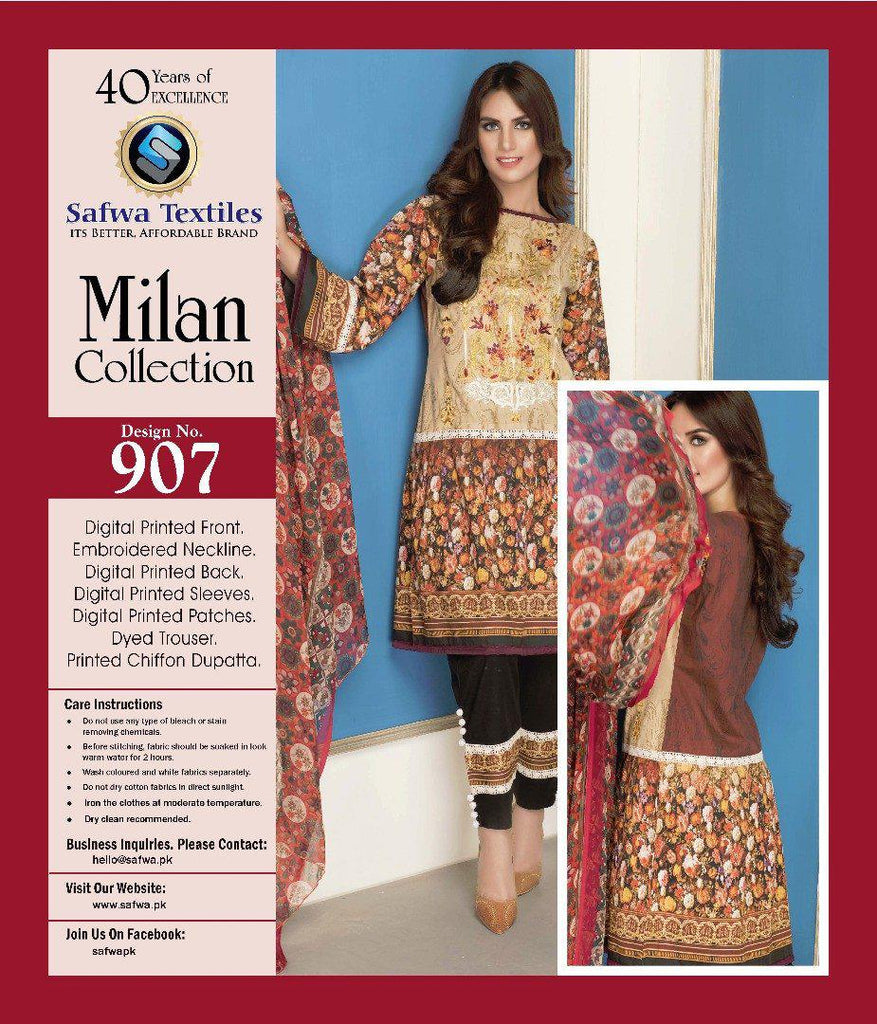 D-907 - SAFWA DIGITAL - MILAN COLLECTION - EMBROIDERED - 3 PIECE SUIT - LAWN, Three Piece Suit, SAFWA, SAFWA Brand - Pakistani Dresses | Kurtis | Shalwar Kameez | Online Shopping | Lawn Dress