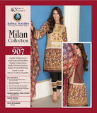D-907 - SAFWA DIGITAL - MILAN COLLECTION - EMBROIDERED - 3 PIECE SUIT - LAWN