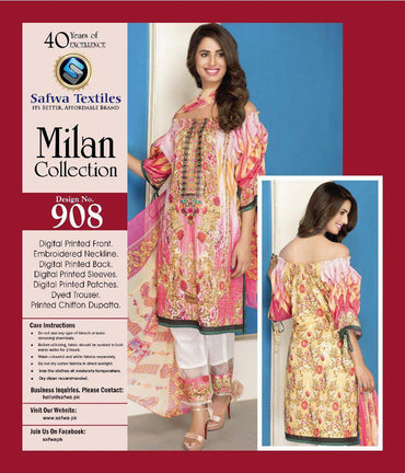 D-908 - SAFWA DIGITAL - MILAN COLLECTION - EMBROIDERED - 3 PIECE SUIT - LAWN
