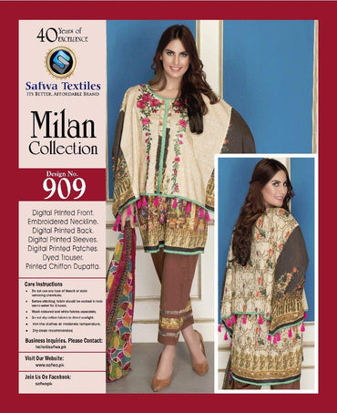 D-909 - SAFWA DIGITAL - MILAN COLLECTION - EMBROIDERED - 3 PIECE SUIT - LAWN