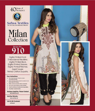 D-910 - SAFWA DIGITAL - MILAN COLLECTION - EMBROIDERED - 3 PIECE SUIT - LAWN