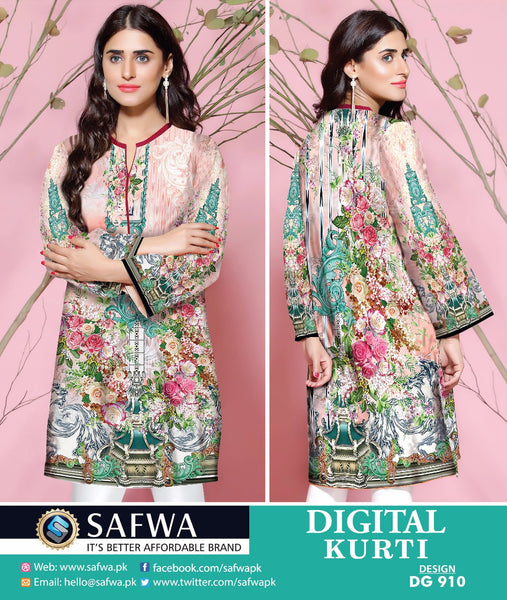 SAFWA DRESS DESIGN, DRESSES, PAKISTANI DRESSES, DG910 - SAFWA DIGITAL COTTON PRINT KURTI COLLECTION -SHIRT KURTI KAMEEZ-Shirt-Kurti-SAFWA -SAFWA Brand Pakistan online shopping for Designer Dresses
