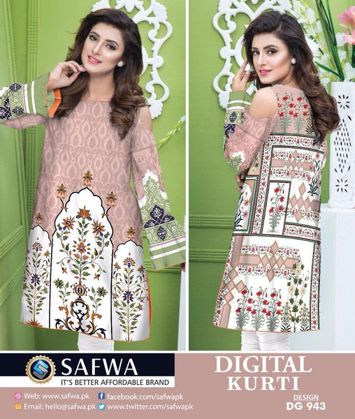SAFWA DRESS DESIGN, DRESSES, PAKISTANI DRESSES, DG943 - SAFWA DIGITAL COTTON PRINT KURTI COLLECTION -SHIRT KURTI KAMEEZ-Shirt-Kurti-SAFWA -SAFWA Brand Pakistan online shopping for Designer Dresses