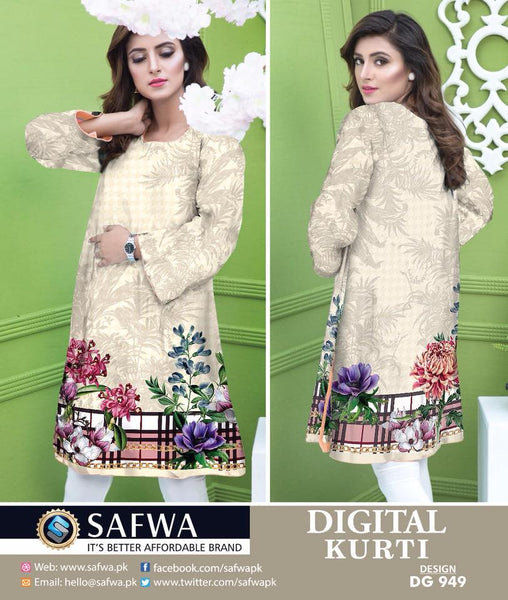 SAFWA DRESS DESIGN, DRESSES, PAKISTANI DRESSES, DG949 - SAFWA DIGITAL COTTON PRINT KURTI COLLECTION -SHIRT KURTI KAMEEZ-Shirt-Kurti-SAFWA -SAFWA Brand Pakistan online shopping for Designer Dresses