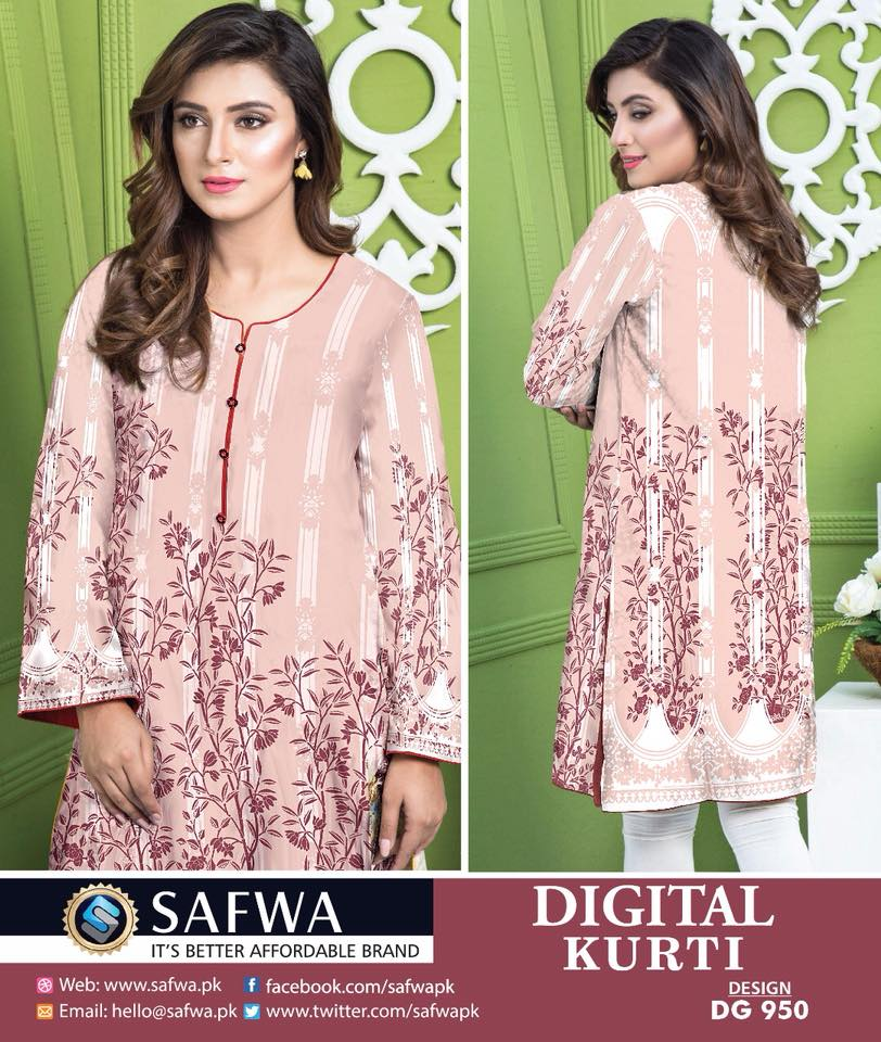 DG950 - SAFWA DIGITAL COTTON PRINT KURTI COLLECTION -SHIRT KURTI KAMEEZ