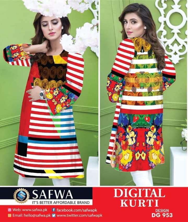 DG953 - SAFWA DIGITAL COTTON PRINT KURTI COLLECTION -SHIRT KURTI KAMEEZ
