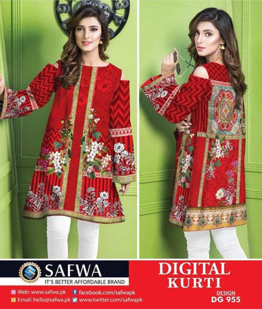 DG955 - SAFWA DIGITAL COTTON PRINT KURTI COLLECTION -SHIRT KURTI KAMEEZ