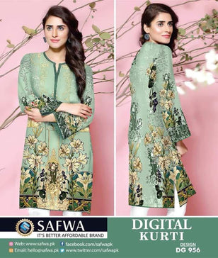 DG956 - SAFWA DIGITAL COTTON PRINT KURTI COLLECTION -SHIRT KURTI KAMEEZ - Shirt-Kurti - Safwa Pakistan Fashion