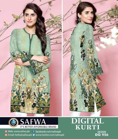 DG956 - SAFWA DIGITAL COTTON PRINT KURTI COLLECTION -SHIRT KURTI KAMEEZ