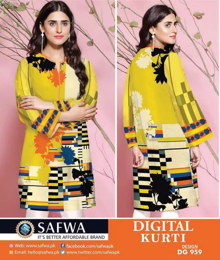 DG959 - SAFWA DIGITAL COTTON PRINT KURTI COLLECTION -SHIRT KURTI KAMEEZ