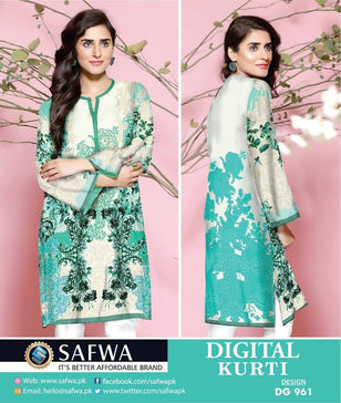 DG961 - SAFWA DIGITAL COTTON PRINT KURTI COLLECTION -SHIRT KURTI KAMEEZ