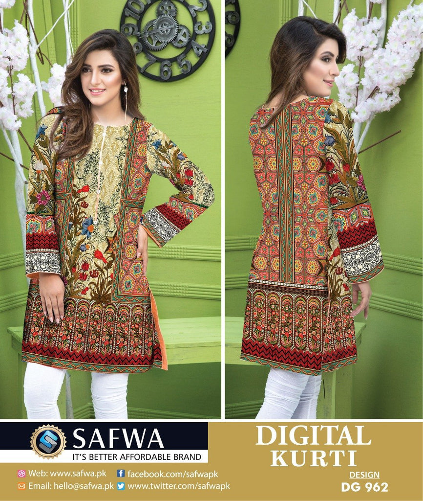DG962 - SAFWA DIGITAL COTTON PRINT KURTI COLLECTION -SHIRT KURTI KAMEEZ