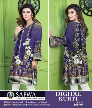 DG964 - SAFWA DIGITAL COTTON PRINT KURTI COLLECTION -SHIRT KURTI KAMEEZ