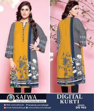 DG965 - SAFWA DIGITAL COTTON PRINT KURTI COLLECTION -SHIRT KURTI KAMEEZ