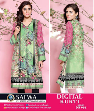 DG966 - SAFWA DIGITAL COTTON PRINT KURTI COLLECTION -SHIRT KURTI KAMEEZ - Shirt-Kurti - Safwa Pakistan Fashion