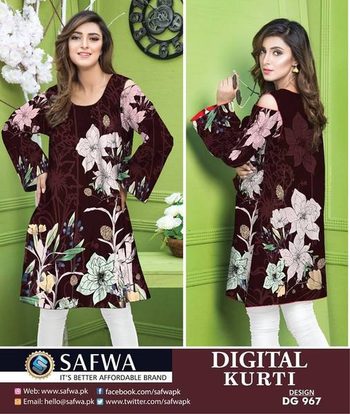 DG967- SAFWA DIGITAL COTTON PRINT KURTI COLLECTION -SHIRT KURTI KAMEEZ-Shirt-Kurti-SAFWA -SAFWA Brand Pakistan online shopping for Designer Dresses SAFWA DRESS DESIGN, DRESSES, PAKISTANI DRESSES,