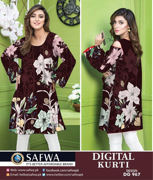 DG967 - SAFWA DIGITAL COTTON PRINT KURTI COLLECTION -SHIRT KURTI KAMEEZ - Shirt-Kurti - Safwa Pakistan Fashion