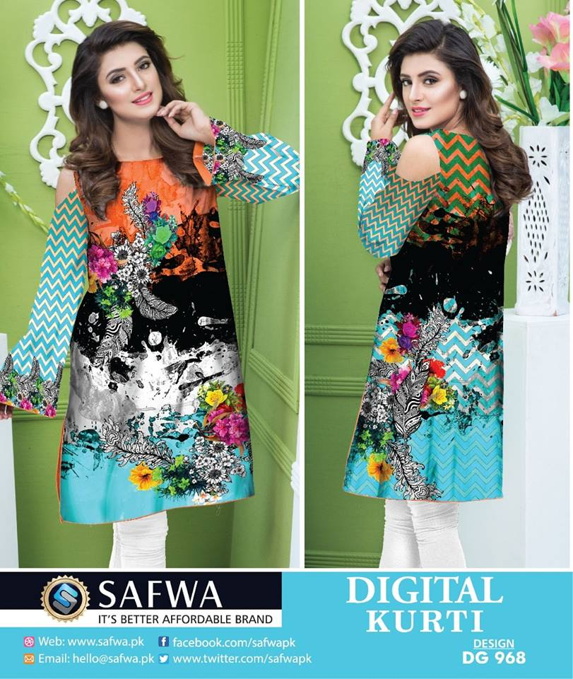 DG968 - SAFWA DIGITAL COTTON PRINTED STITCH KURTI COLLECTION -SHIRT KURTI KAMEEZ - Shirt-Kurti - safwa