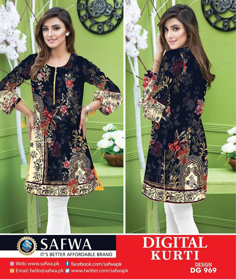 DG969 - SAFWA DIGITAL COTTON PRINT KURTI COLLECTION -SHIRT KURTI KAMEEZ