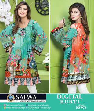 DG971 - SAFWA DIGITAL COTTON PRINT KURTI COLLECTION -SHIRT KURTI KAMEEZ